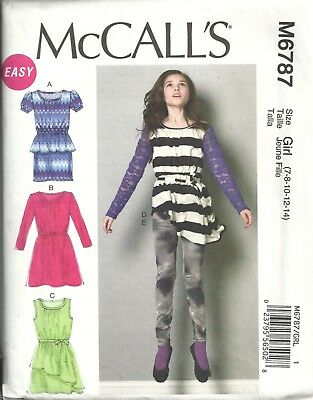 Mccalls M6787 Girl's 7-14  Dresses, Tunic, Belt, Leggings Sewing Pattern