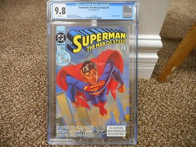 Superman The Man of Steel 1 cgc 9.8 CLASSIC GREAT cover DC 1991 MINT WHITE pgs