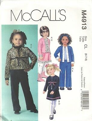 Mccalls M4913 Child's Size 6-8 Jacket, Skirt, Pants Sewing Pattern Oop