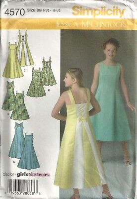Simplicity 4570 Girls 8½-16½ Special Occasion Dresses Sewing Pattern Oop