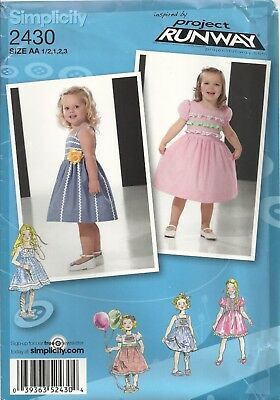 Simplicity 2430 Girls Size ½-4 Dresses W/bodice & Trim Variations Sewing Pattern