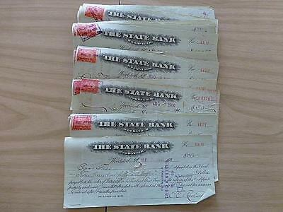 62 Canceled Checks with Stamp Affixed Woodstock Illinois IL State Bank 1900