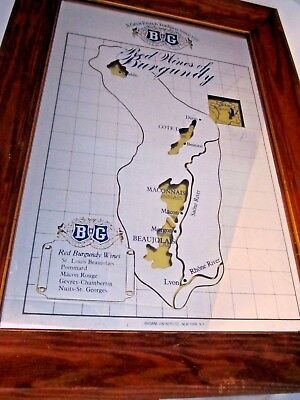 Vtg Red Wines of Burgundy MIRROR Advertising Sign Brown Vintners Co. New York NY