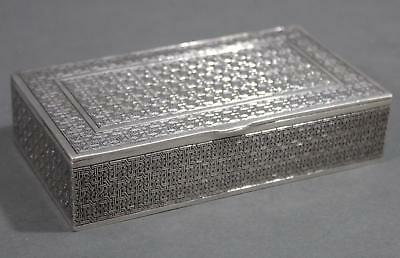 Antique Hallmarked Persian Islamic Silver Box Finely Detailed Geometric Design