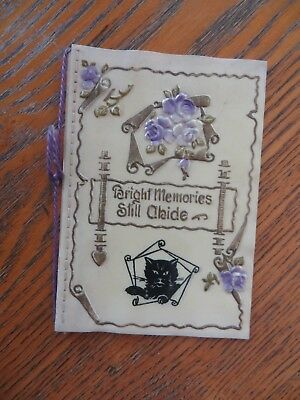 CELLULOID ANTIQUE HAPPY NEW YEAR GREETING CARD w/ PICT BLACK CAT + ONE EXTRA