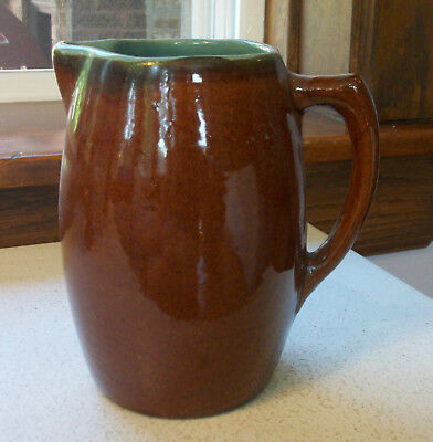 Brown Small Pitcher with Blue Inner Glaze