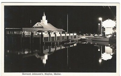 Howard Johnson's at Night, Naples, Maine Old Real Photo Postcard