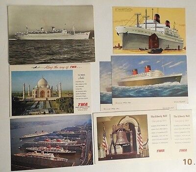 8 Vintage Travel Postcards Ships Air Twa Queen Elizabeth Port New York Plus Nr