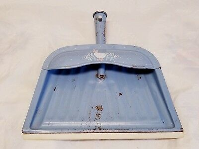 Vintage JV REED Metal Tin Dust Pan Blue Goose Flowers