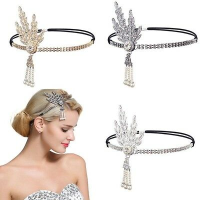 1920s Flapper Great Gatsby Headband Pearl Charleston Party Lady Bridal Headpiece