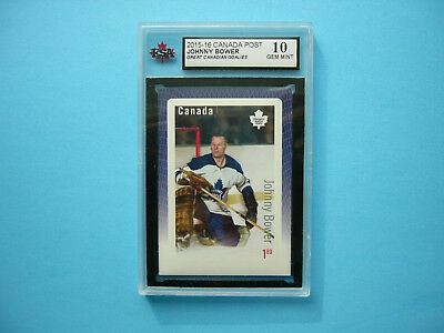 2015 Hockey Card Canada Post Postage Stamp Johnny Bower Ksa 10 Gem Mint Sharp+