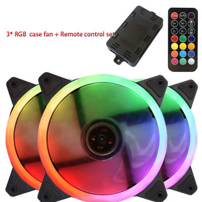 3 * Game RGB Colorful LED Ring PC 12cm computer Case Fan remote control cooler