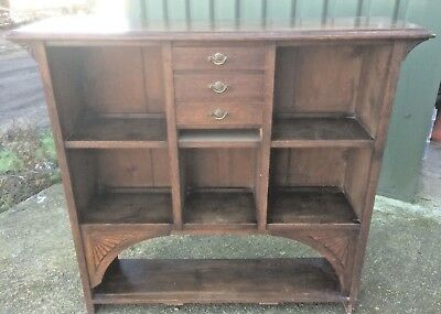 Old antique victorian oak open shelf pigeon hole library bookcase with drawers