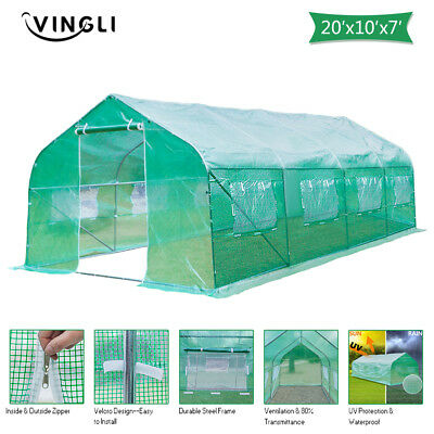 Portable Heavy Duty 11'/20'x10'x7' Walk-In Green House Plant Garden Greenhouse
