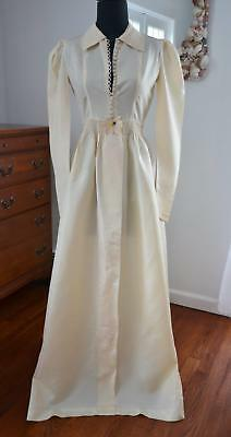 OLD HOLLYWOOD GLAM! Vtg 20s 30s Pale Peach Satin Robe Dressing Gown Dress! XS-S