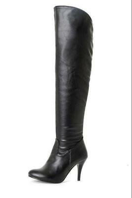 Womens Zip Over Knee Thigh Boots High Heel Stiletto Shoes Pointed Toe PLUS Size^
