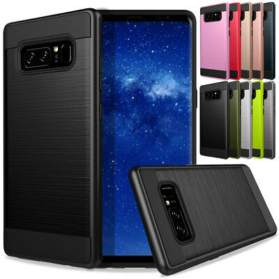 Brushed Shockproof Hybrid Rubber Rugged Case For Samsung Galaxy Note 9 8 5 4 3
