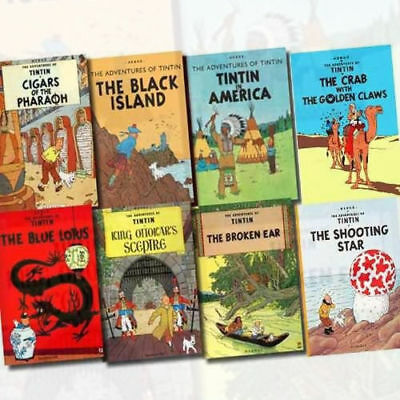 Adventures of Tintin Series By Herge 8 Books Collection Set Blue Lotus Crab US