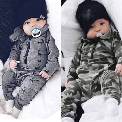 Unisex Toddler Newborn Baby Boys Girl Deer Hooded Romper Jumpsuit Clothes Outfit