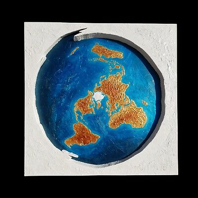 Flat Earth Map Art - Large Painting - Real Wood - Unique