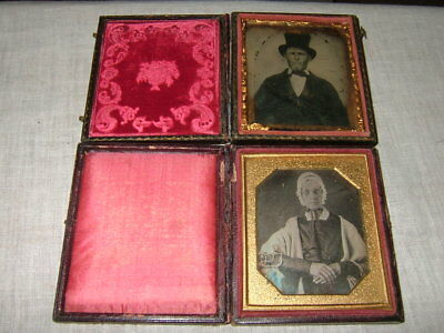 2 Antique Collectible Ambrotype Photographic Images, Man & Woman