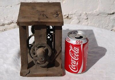 Antique Wooden Caged Clock Mechanism - As Is - Spares Or Repairs Only