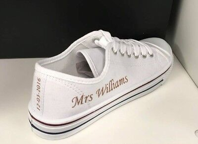 57645a32e27c WEDDING BRIDAL PUMPS Trainers Customised Personalised Bling Crystal ...