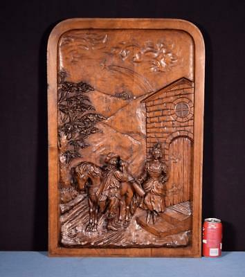 *Large French Antique Deep Carved Architectural Panel Door Solid Walnut Wood