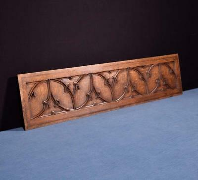"*33"" Gothic Carved Architectural Panel Solid Oak Salvage"