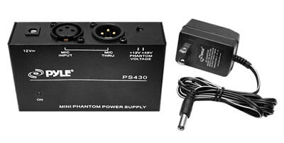 Compact Microphone Low Noise 1-Channel 48V Phantom Power Supply with 12V Adapter