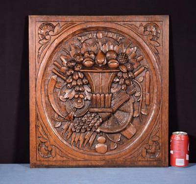 *Antique French Louis XVI Style Carved Panel in Oak Wood with Basket