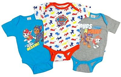 Baby Boys Paw Patrol Vests Bodysuits Creepers Three Pack 0-3 and 3-6 Months