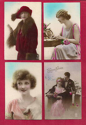 BELGIUM, 8 beautiful young lady hand colored rppc with stamps and postmarks, VF