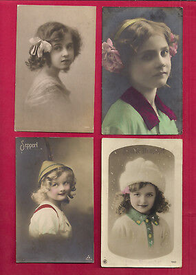 4 GERMANY, 3 BELGIUM, young lady hand colored rppc with stamps and postmarks, VF