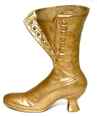 Gorgeous Rare Antique Solid Brass Heavy Mid Calf Old Fashioned Boot Figurine
