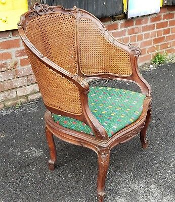Antique Carved Walnut French Louis XV Style Double Caned Armchair c1890