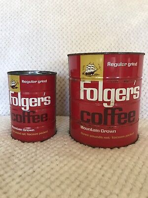 Vintage Folgers Coffee cans 1# and 3#