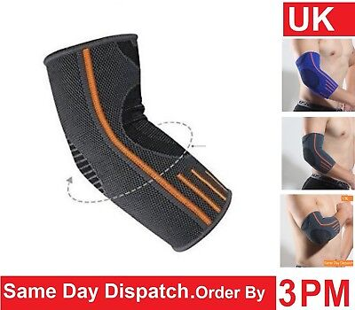 Elbow Support Sleeve for Arm Pain Injury Work Gym Sport Grey/Orange