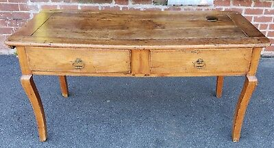 Antique 19th Century Cherry French Country Rustic Bakers Table ~ Writing Desk