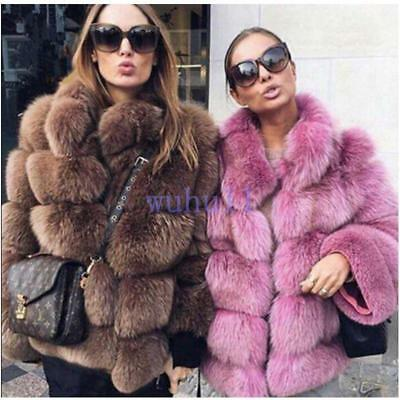 Women's Chic Solid Winter Fox Fur Coat Thick Casual Warm Fur Jacket Parka Warm