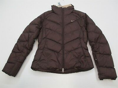 NIKE #K4904 Women's Size S White Duck Down Insulated Warm Brown Puffer Jacket