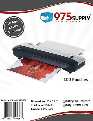 """975 Supply 10mil. Letter Laminating Pouches. 9"""" x 11.5"""". Clear. 100 Pouches."""