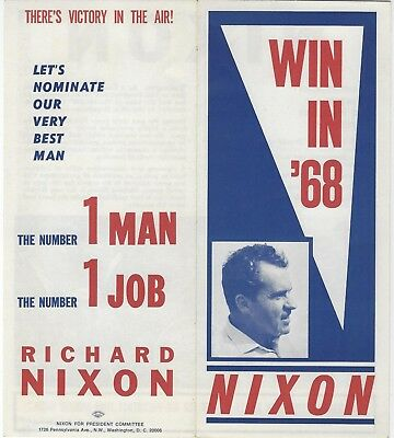 """1968 """"win In '68"""" With Richard Nixon - One Man One Job Picture Campaign Brochure"""