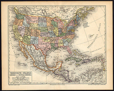 Antique Map-USA-NORTH AMERICA-MEXICO-Meyers-1895