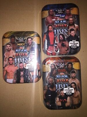 Topps WWE Slam Attax Live All 3 Mini Tins RAW-SMACKDOW-NXT