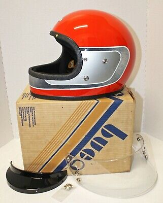 VINTAGE BUCO Full-Face Motorcycle Safety Helmet Red Black Silver Design NIB LG