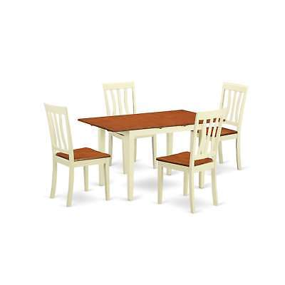 5-piece Kitchen Dinette Set with Dinette Table and 4 Dining Cream, Off-White