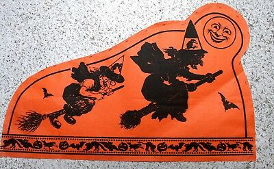 Halloween German Crepe Tissue Hat, Fantastic Images of Witches with Hats
