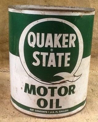 Vintage Quaker State Red Label Motor Oil 1 Gallon Can, Gas And Oil
