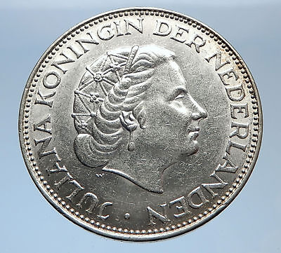 1960 Netherlands Kingdom Queen JULIANA 2 1/2 Gulden Authentic Silver Coin i69357